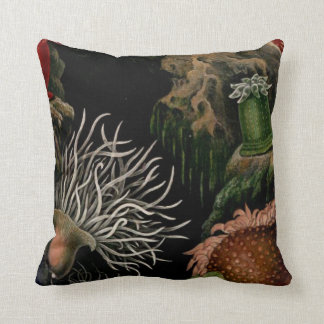 Black, Colorful Sea Anemone Throw Pillow