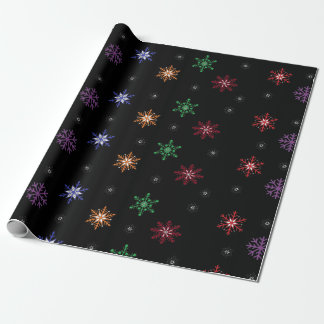 Black Colorful Snowflakes Christmas Gift Wrap