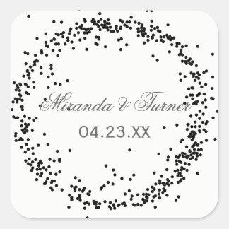 Black Confetti Names & Date - Square Sticker