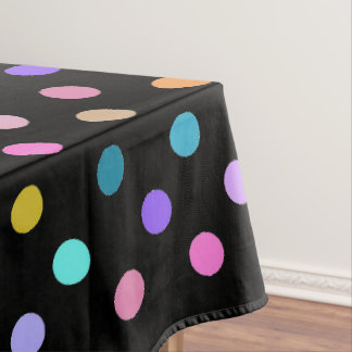 Black confetti polka dots colorful table cloth