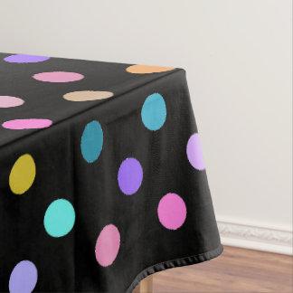 Black confetti polka dots colorful table cloth tablecloth