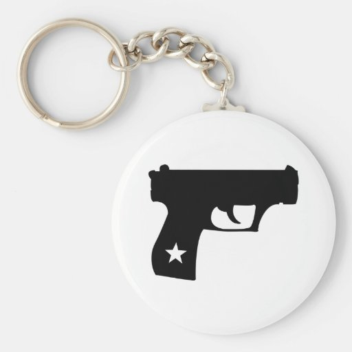 Black Cop Pistol Star Gun Key Chains