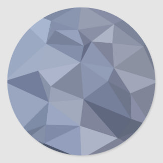 Black Coral Blue Abstract Low Polygon Background Round Sticker