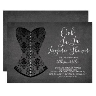 Black Corset Lingerie Bridal Shower Invitation