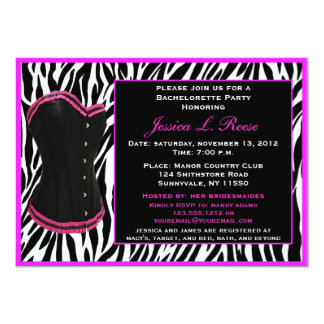 Black Corset Zebra Bachelorette Party Card