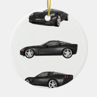 Black Corvette Ceramic Ornament