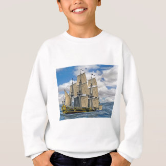 Black Corvette Ship Sailing on a windy day Sweatshirt