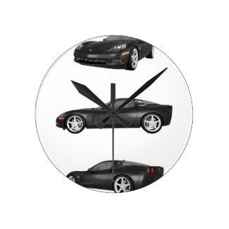 Black Corvette Wallclock
