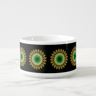 Black Cosmic Green Orange Geometric Spiral Bowl