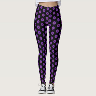 Black Cosmic Pink Purple Star Leggings