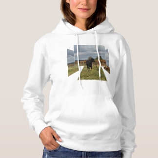 Black Cow Dimensional Art, Ladies White Hoodie