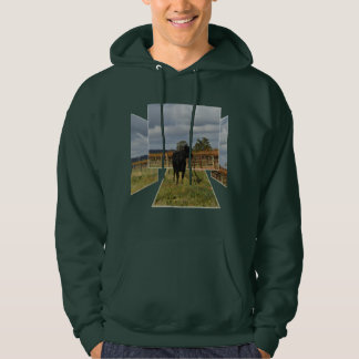 Black Cow Dimensional Art, Mens Green Hoodie