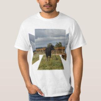 Black Cow Dimensional Art, Mens White Tshirt