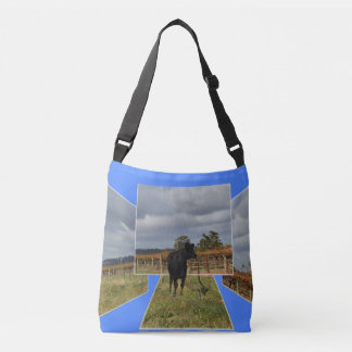 Black Cow Dimensional Art  Unisex Crossbody Bag