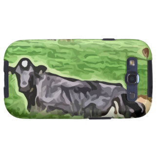 Black cow resting in grass painting samsung galaxy s3 cover