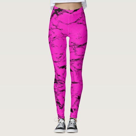 Black cracks on pink, purple, violet pattern leggings