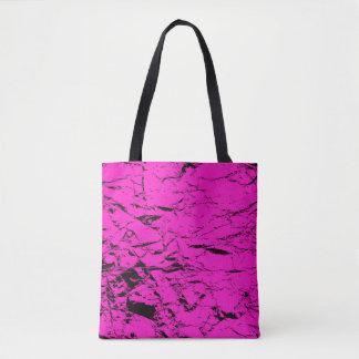 Black cracks on pink, purple, violet pattern tote bag