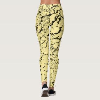 Black cracks, yellow fabric pattern, grunge design leggings