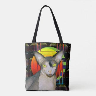Black Crazy Cat Design Sphynx Cat Devon Rex Cat Tote Bag