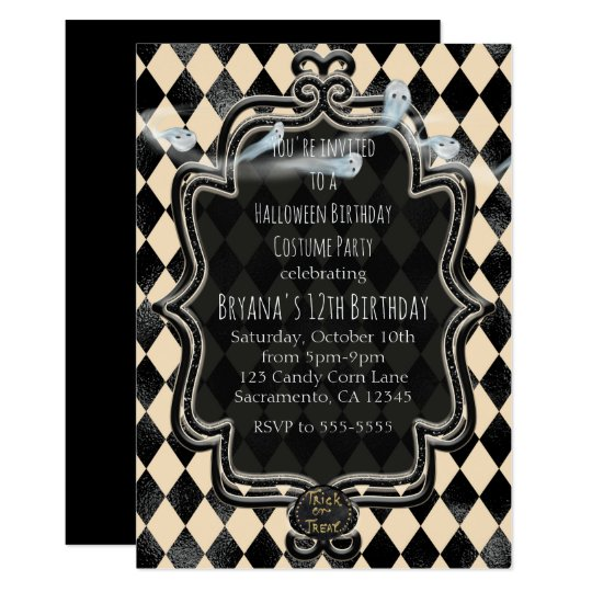 Black & Cream Diamond Halloween Party Invitation