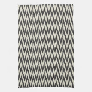 Black & Cream Ikat Waves Kitchen Towel