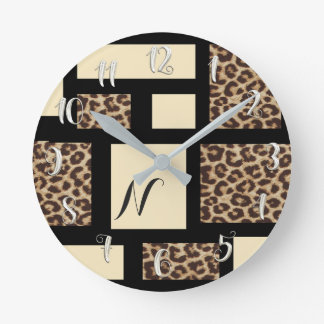 Black & Cream Leopard Cheetah Color Block Custom Round Clock