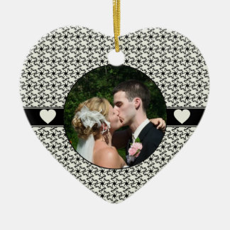 Black & Cream Wedding Remembrance Christmas Ceramic Ornament