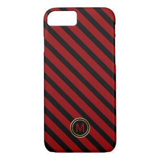Black Crimson Blood Red Diag Stripe Gold Monogram iPhone 8/7 Case