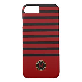 Black & Crimson Blood Red Stripe Gold Monogram iPhone 8/7 Case