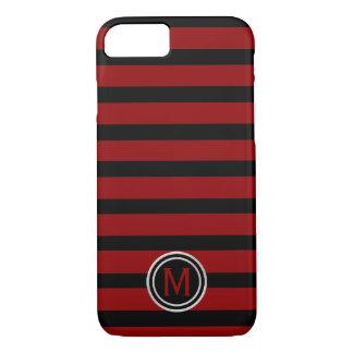 Black & Crimson Blood Red Stripe Monogram iPhone 8/7 Case
