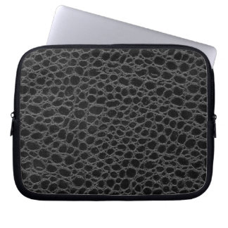 Black Crocodile Hide Laptop Sleeve