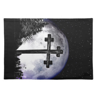 black cross and full moon placemats