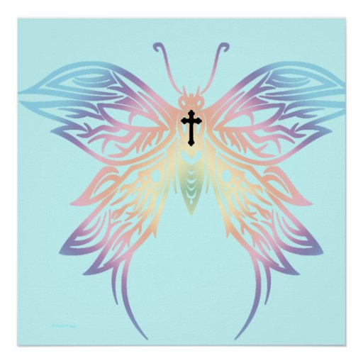 Black Cross Pastel Goth Butterfly Poster
