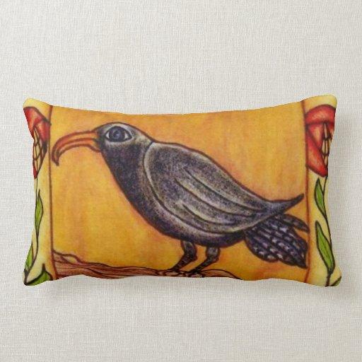Black Crow Art Deco Roses Folk Art Throw Pillow