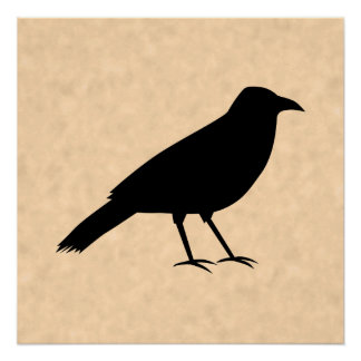 Black Crow Bird on a Parchment Pattern. Perfect Poster