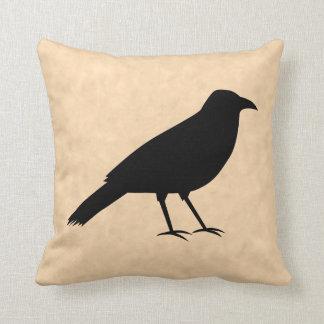 Black Crow Bird on a Parchment Pattern. Throw Pillow
