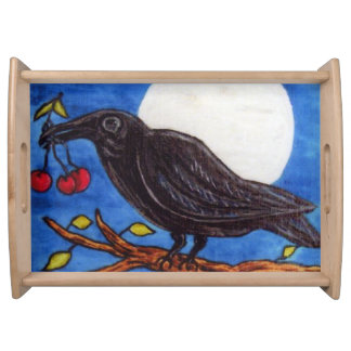 Black Crow Cherries Moonlight White Moon Serving Tray
