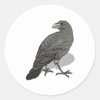 Black Crow Classic Round Sticker