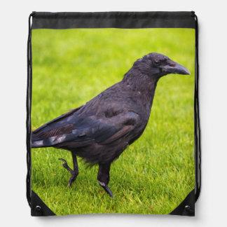Black crow drawstring bag