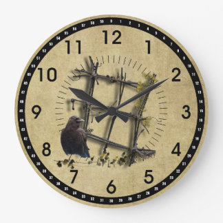Black Crow & Fence- Round Wall Clock