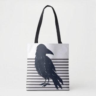 Black Crow & Grey Stripes Tote Bag