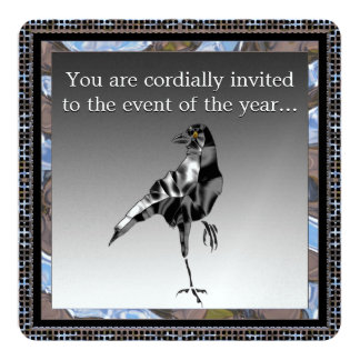 Black Crow Party metalic Invitation