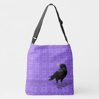 Black Crow Purple Pattern Shoulder Bag