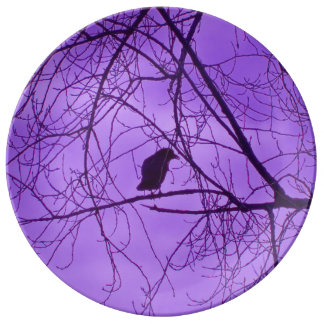 Black Crow Purple Sky Black Spooky Trees Porcelain Plates
