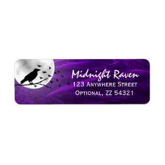 Black Crow Raven Silhouette on Moon Edgy Gothic Return Address Label