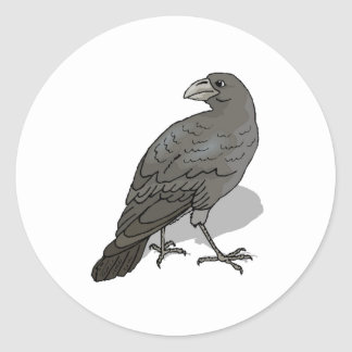 Black Crow Round Sticker