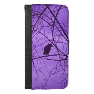 Black Crow Silhouette Sitting on black Tree Branch iPhone 6/6s Plus Wallet Case