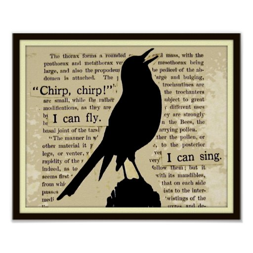 Black Crow~Sing Fly Chirp Vintage Book Poster