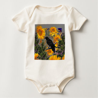 black crow & sunflowers art baby bodysuit