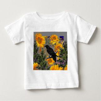 black crow & sunflowers art baby T-Shirt